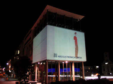 image from an interactive video projection made for the ars electronica centre in Linz