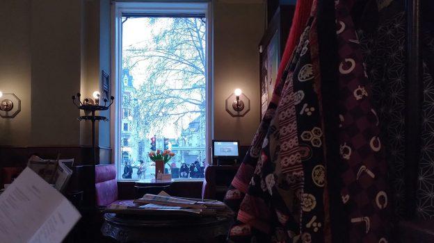 Inside Café Eiles, looking through the window