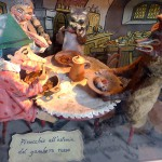 Puppets of Pinocchio and the cat and fox in the tavern of the red shrimp