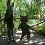 "View of the sculpture ""Il gatto e la volpe"" (""The cat and the fox"") in Pinocchio Park, Collodi, Tuscany"