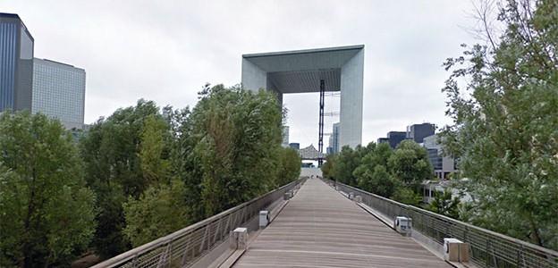 View from La Jetée towards the Grand Arche de la Defense, Paris
