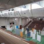 The main sports hall of Palasport Arsenale in Venice, occupied by artwork of the Lithuanian Pavilion, Biennale 2013