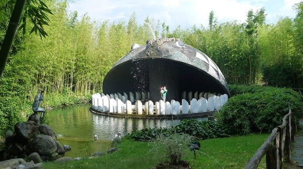 View of the concrete whale sculpture in Pinocchio Park, Collodi, Tuscany