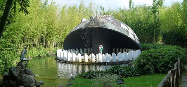 View of the concrete whale sculpture in Pinocchio Park, Collodi, Tuscany